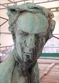 Detail of the sculpture before conservation.