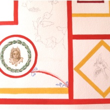 Detail of the reconstruction on paper with tempera.