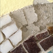 Deteriorated adhesive before the removal.
