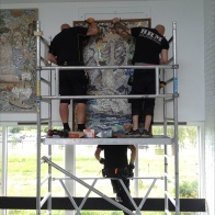 Mounting the mosaics.
