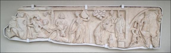 Roman sarcophagus fragment after conservation.