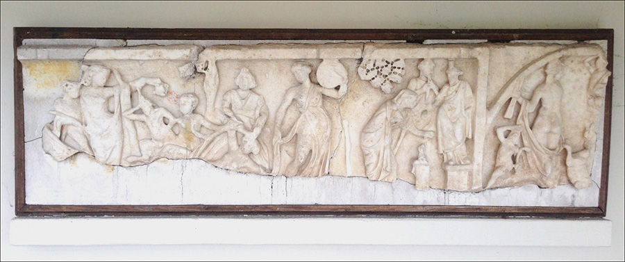 Roman sarcophagus fragment before conservation